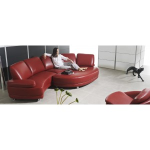 Curved Full Leather Sectional