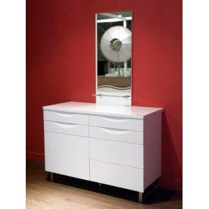 White Gloss Dresser with Mirror