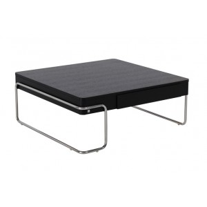 Chrome + Wood Square Coffee Table