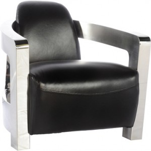 Bomber Chair in Black Leather