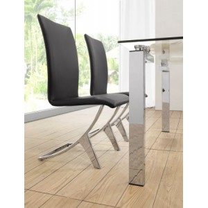 Chrome Winged Dining Chair: