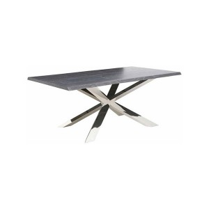 Wood Dining Table with Stainless Steel Base