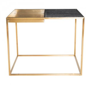 Corbett Black Marble Side Table