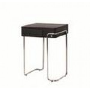 Tall Chrome + Wood Side Table